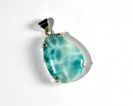 Unusual Pattern Natural Deep Blue Larimar .925 Sterling Silver Pendant 45mm