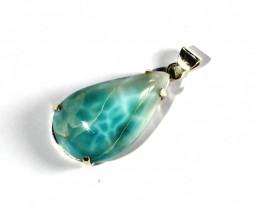 Charming Design Natural Sky Blue Larimar .925 Sterling Silver Pendant 1.8in