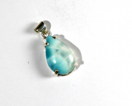 Charming Design Natural Deep Blue Larimar .925 Sterling Silver Pendant 33mm