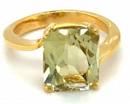 Yellow Green Kunzite 7.00ct Solid 18K Yellow Gold Ring