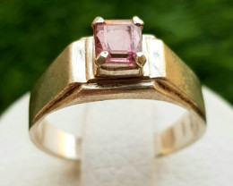 23ct Natural Pink Tourmaline in Silver Handmade Ring.