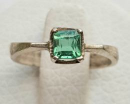 14ct Natural  Tourmaline In Silver Handmade Ring.