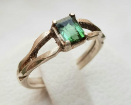 16ct  Natural Cute Tourmaline In Silver Handmade Ring.