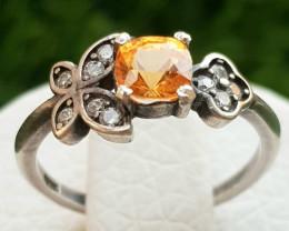 9ct Natural Spessertite Garnet in 925 sterling Silver Ring