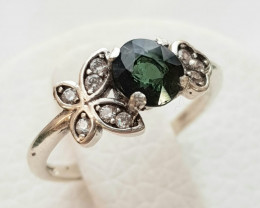 9ct Natural Black Table Tourmaline in 925 Sterling Silver Ring.