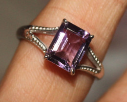 Natural Amethyst 925 Silver Ring  54