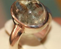 Natural Aquamarine 925 Silver Ring 50