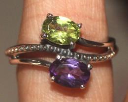 Natural Peridot & Amethyst 925 Silver Ring 117