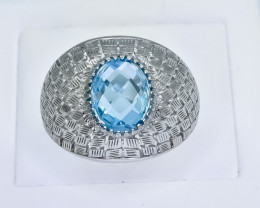 46.95 Crt Natural Topaz 925 Silver Ring