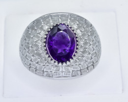47.80 Crt Natural Amethyst 925 Silver Ring
