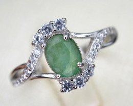 Natural Emerald 13.64 Cts CZ and Silver Ring