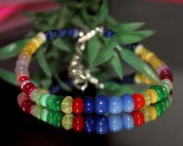 30 Crts Natural Ethiopian Welo Multi Color Opal Bracelet 311