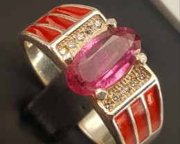 Natural Rubelite Tourmaline Ring.
