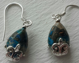 BLUE COPPER TURQUOISE EARRINGS STERLING SILVER CAST / FLEUR DE LIS DESIGN