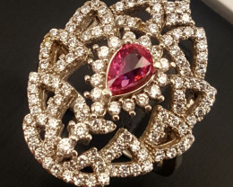Narural Ruby Ring with CZ.
