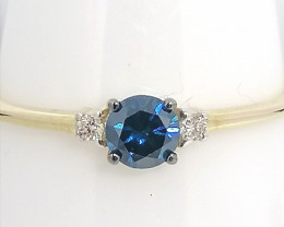 Blue and White Diamond ring 0.25tcw - 9kt. Gold