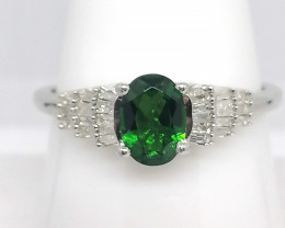 Chrome Diopside and Diamond Ring 1.00 TCW