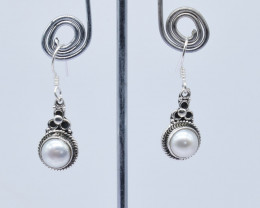 PEARL EARRINGS 925 STERLING SILVER NATURAL GEMSTONE JE127
