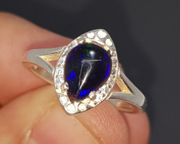 Natural Black Fire Opal 18.20 Carats 925 Silver Ring