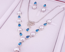 Natural Blue Topaz And Pearl Set.