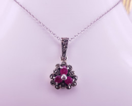 Simple Style Ruby Necklace
