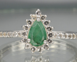 Natural Emerald, White Topaz and 925 Silver Ring