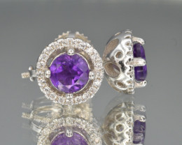 Natural Amethyst, CZ and 925 Silver Earrings