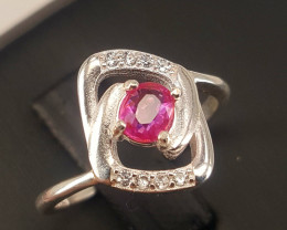 Natural Pink Sapphire Ring with CZ.