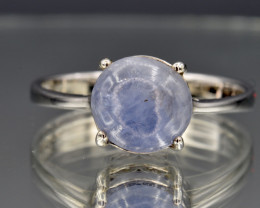 Natural White Sapphire and 925 Silver Ring