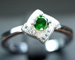 Natural eye catching color Tsavorite Green Garnet ,CZ 925 Silver Ring