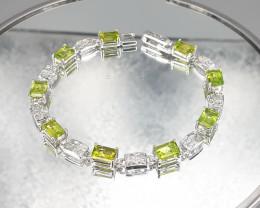 Natural Peridot Diopside 925 Silver Bracelet by DANI Jewellery