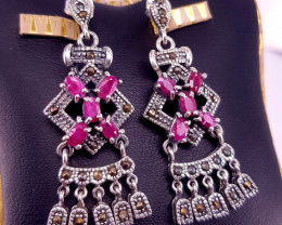 Antique Design  Ruby Earrings