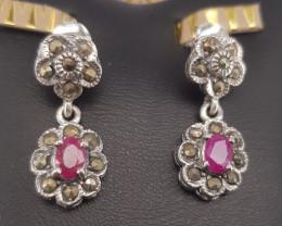 Antique Design  Ruby Earrings