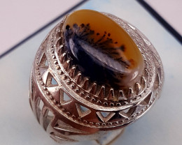 Natural moss agate Ring.