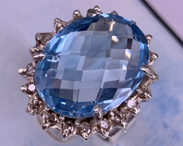 11.85 carat Natural Swiss Blue Topaz and Diamond's Ring TCW 12.35.