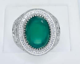 60.53 Crt Natural Green Agate 925 Sterling Silver Ring