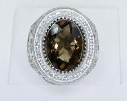 61.62 Crt Natural Smoky Quartz 925 Sterling Silver Ring