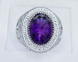 60.98 Crt Natural Amethyst 925 Sterling Silver Ring