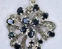 72.32 Crt Natural Sapphire  925 Sterling Silver Pendant