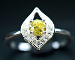 Natural transparent high quality top luster&Fire Sphene ,CZ 925 Silver Ring