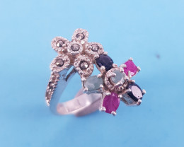 Antique Design Natural Emerald Sapphire And Ruby Ring