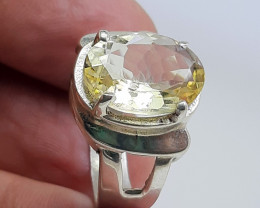 5 Carats yellow citrine oval shape 925 Silver Ring,  13x9x5 mm.