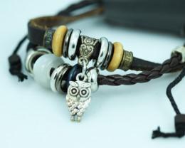 Cute Owl Design Dual Leather Bracelet CCC 682