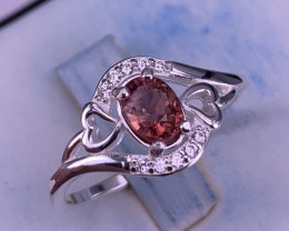 Natural Tourmaline Ring with CZ