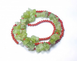 262 Ct Natural Green Transparent Rough Peridot Necklace