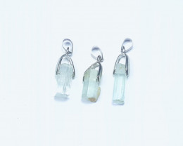 29.90 Ct Natural Blueish Transparent Aquamarine Pendents 3 Pieces
