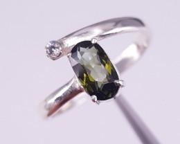 Natural Tourmaline and CZ ring