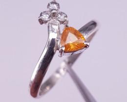 Natural Spessartite and CZ Ring