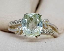 Natural Blue Aquamarine 19.30 Carats 925 Silver Ring