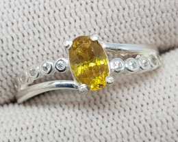Natural Yellow Fire Sphene (Titanite) 10.15 Carats 925 Silver Ring